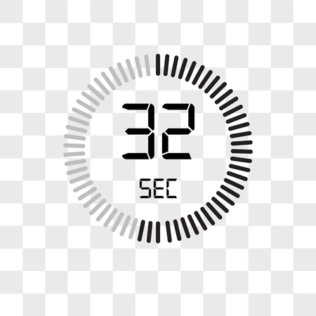 The 32 seconds vector icon isolated on transparent background, The 32 seconds logo concept
