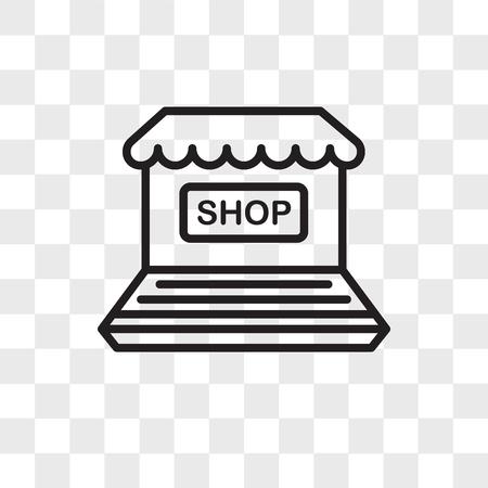 Online shop vector icon isolated on transparent background, Online shop logo concept Illustration