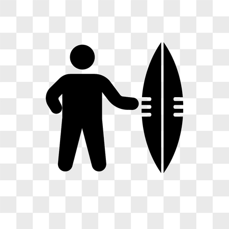 Sufer with board vector icon isolated on transparent background, Sufer with board logo concept