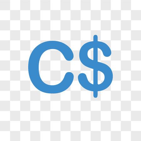 Icône de vecteur de devise Canada isolé sur fond transparent, concept de logo de devise Canada Logo