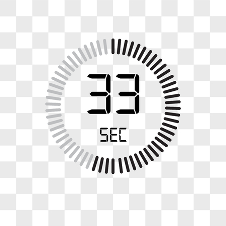The 33 seconds vector icon isolated on transparent background, The 33 seconds logo concept