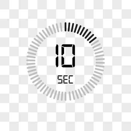 The 10 seconds vector icon isolated on transparent background, The 10 seconds logo concept