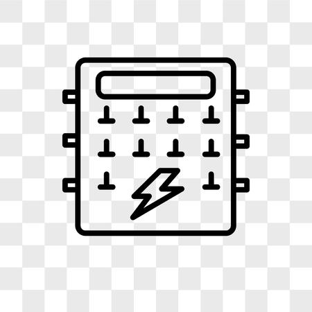 Zekeringkast vector pictogram geïsoleerd op transparante achtergrond, zekeringkast logo concept