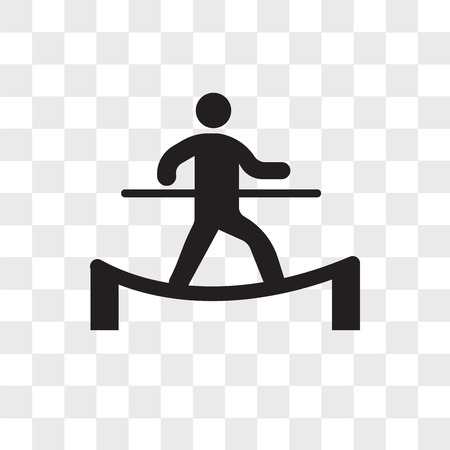 Man in balance on a tightrope vector icon isolated on transparent background, Man in balance on a tightrope logo concept