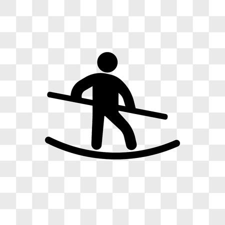 Chodzik przez rzekę wektor ikona na białym tle na przezroczystym tle, koncepcja logo chodzik przez linę Logo