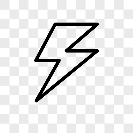 Lightning vector icon isolated on transparent background, Lightning logo concept Illustration