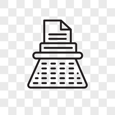 Typewriter vector icon isolated on transparent background, Typewriter logo concept Illustration