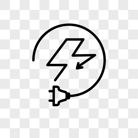 Electricity vector icon isolated on transparent background, Electricity logo concept Stock Illustratie