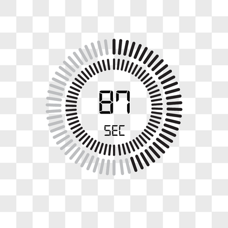 The 87 seconds vector icon isolated on transparent background, The 87 seconds logo concept