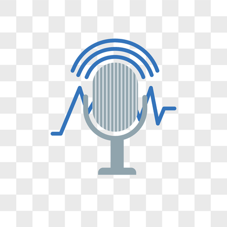 Voice recognition vector icon isolated on transparent background, Voice recognition logo concept Çizim