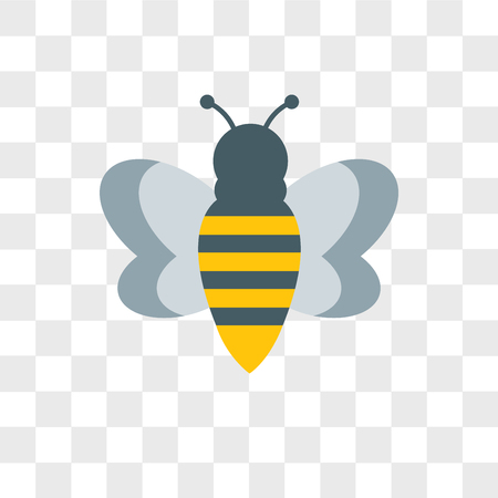 Bee vector icon isolated on transparent background, Bee logo concept Illustration