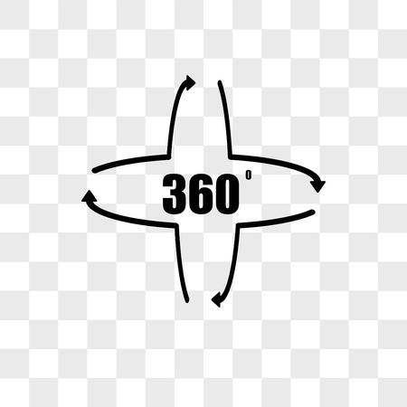 360 degree vector icon isolated on transparent background, 360 degree logo concept