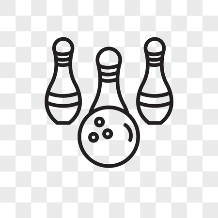 Bowling vector icon isolated on transparent background, Bowling logo concept Stock Illustratie