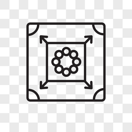 Carrom vector icon isolated on transparent background, Carrom logo concept