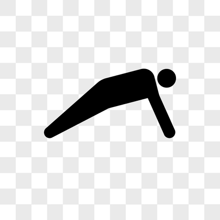 Man doing push ups vector icon isolated on transparent background, Man doing push ups logo concept