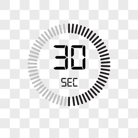 L'icône de vecteur de 30 secondes isolé sur fond transparent, le concept de logo de 30 secondes