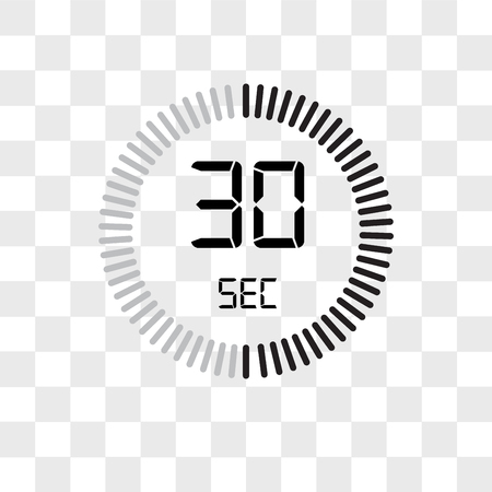 The 30 seconds vector icon isolated on transparent background, The 30 seconds logo concept Stock Illustratie