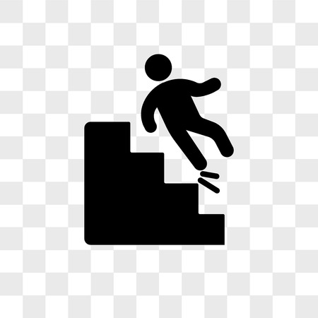 Falling Down Stairs vector icon isolated on transparent background, Falling Down Stairs logo concept Vectores