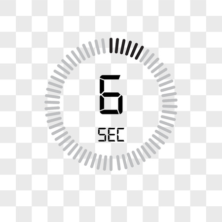 The 6 seconds vector icon isolated on transparent background, The 6 seconds logo concept