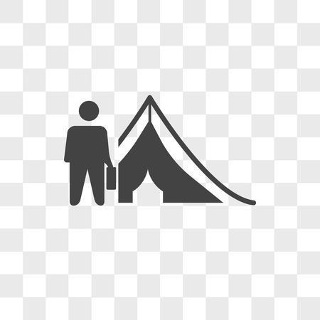 refugee vector icon isolated on transparent background, refugee logo concept