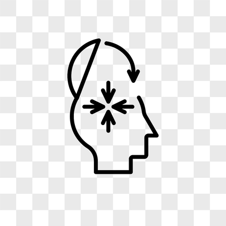 Mind closed vector icon isolated on transparent background, Mind closed logo concept Vectores