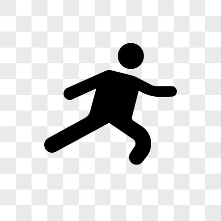 Long Jump vector icon isolated on transparent background, Long Jump logo concept Vectores