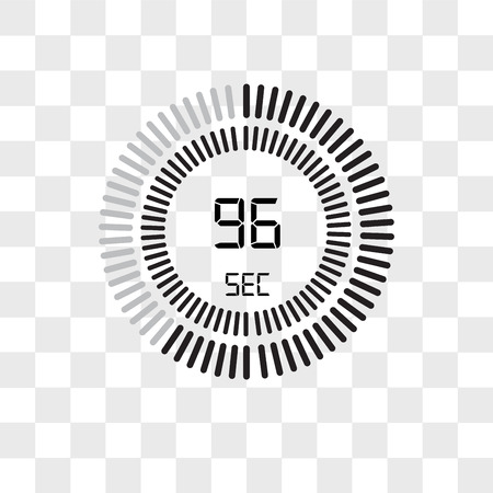 The 96 seconds vector icon isolated on transparent background, The 96 seconds logo concept