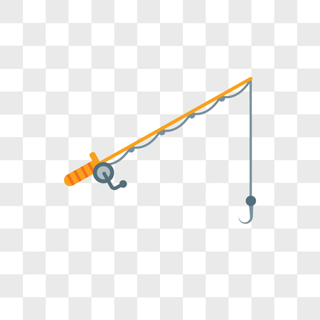 Fishing line vector icon isolated on transparent background, Fishing line logo concept
