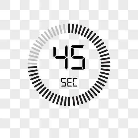 The 45 seconds vector icon isolated on transparent background, The 45 seconds logo concept
