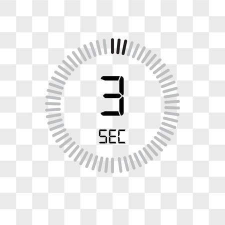L'icône de vecteur de 3 secondes isolée sur fond transparent, la notion de logo de 3 secondes Logo
