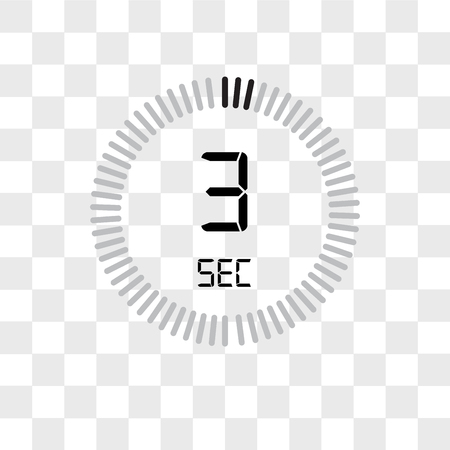 The 3 seconds vector icon isolated on transparent background, The 3 seconds logo concept