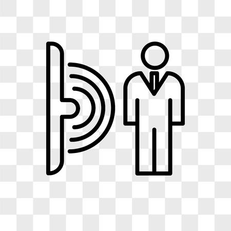 icône de vecteur de capteur de mouvement isolé sur fond transparent, concept de logo de capteur de mouvement Logo