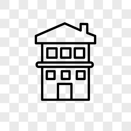 two story house vector icon isolated on transparent background, two story house logo concept