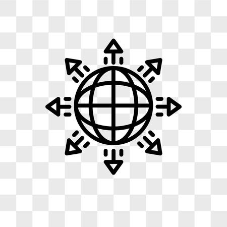 globales Expansionsvektorsymbol lokalisiert auf transparentem Hintergrund, globales Expansionslogokonzept
