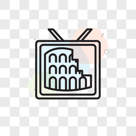 Colosseum vector icon isolated on transparent background, Colosseum logo concept Çizim