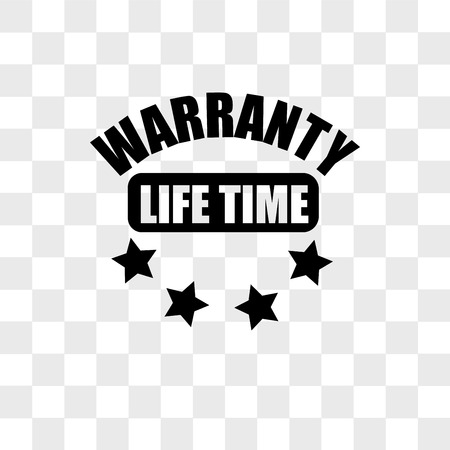 lifetime warranty vector icon isolated on transparent background, lifetime warranty logo concept