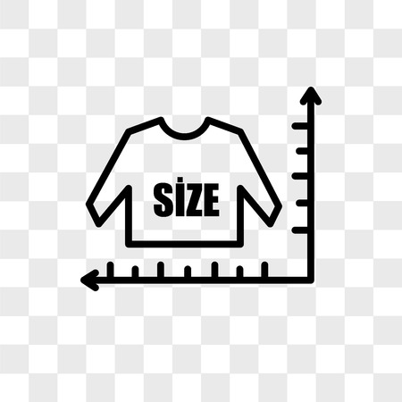 size chart vector icon isolated on transparent background, size chart logo concept Illustration