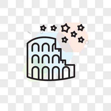 Colosseum vector icon isolated on transparent background, Colosseum logo concept