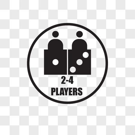 número de icono de vector de jugadores aislado sobre fondo transparente, concepto de logo de número de jugadores