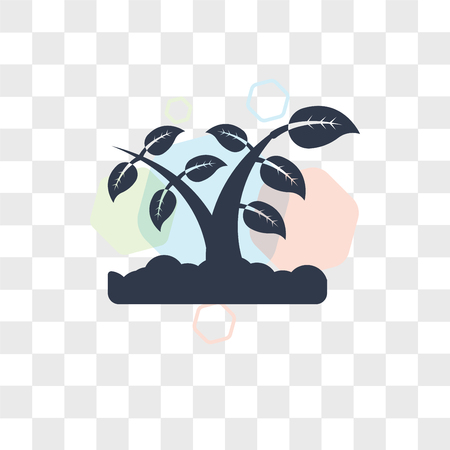 Growing Plant vector icon isolated on transparent background, Growing Plant logo concept
