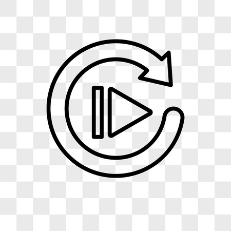 replay vector icon isolated on transparent background, replay logo concept