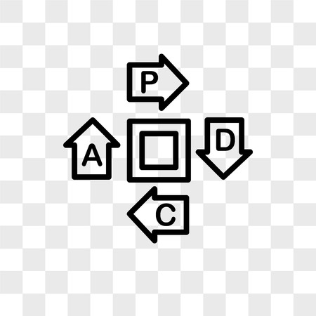 pdca vector icon isolated on transparent background, pdca logo concept