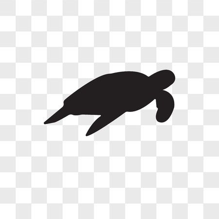 sea turtle vector icon isolated on transparent background, sea turtle logo concept Vettoriali