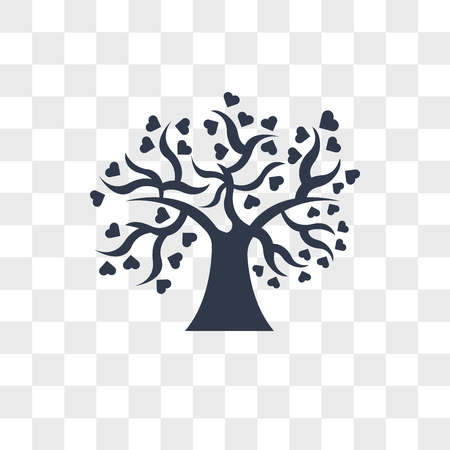Tree of love vector icon isolated on transparent background, Tree of love logo concept