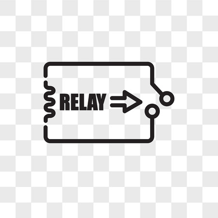 relay vector icon isolated on transparent background, relay logo concept Stock Illustratie