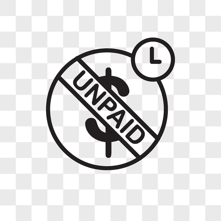 unpaid vector icon isolated on transparent background, unpaid logo concept