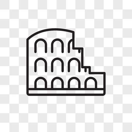 Icono de vector de Coliseo aislado sobre fondo transparente, concepto de logo de Coliseo