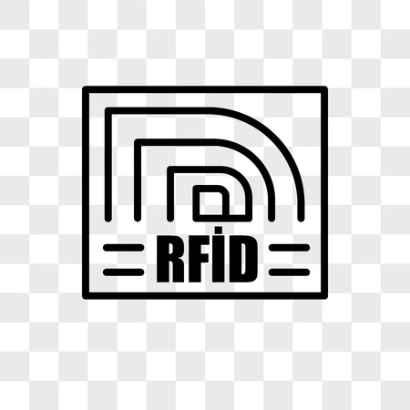 rfid vector icon isolated on transparent background, rfid logo concept