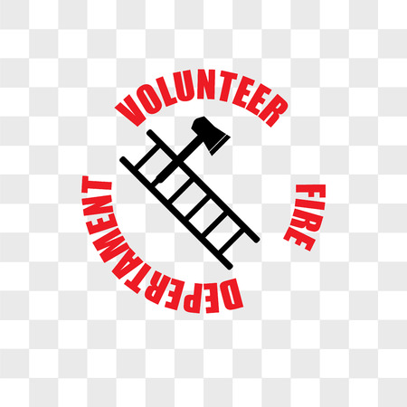 volunteer fire department vector icon isolated on transparent background, volunteer fire department logo concept Illustration