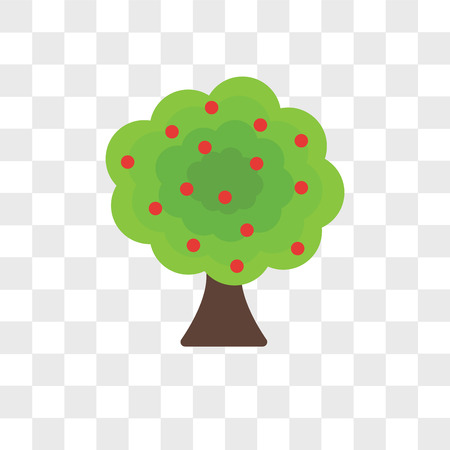 Fruit tree vector icon isolated on transparent background, Fruit tree logo concept
